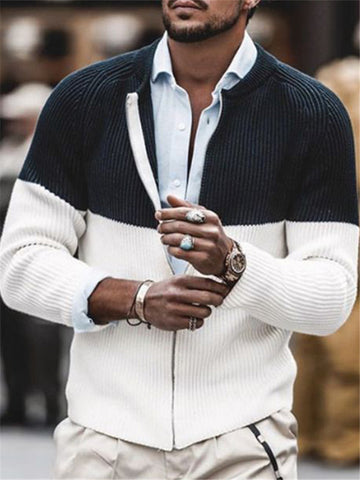 Mens Casual Round Neck Knit Jacket