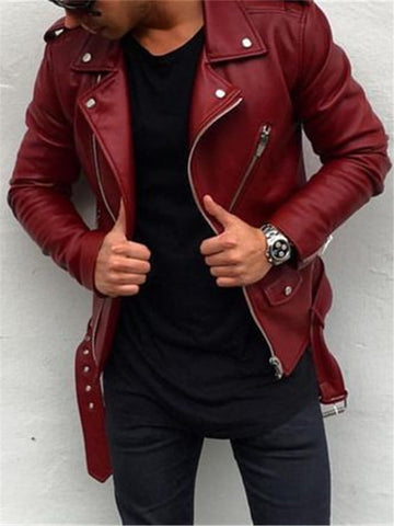 Mens Fashion Slim Stitching Motorcycle Leather Jacket