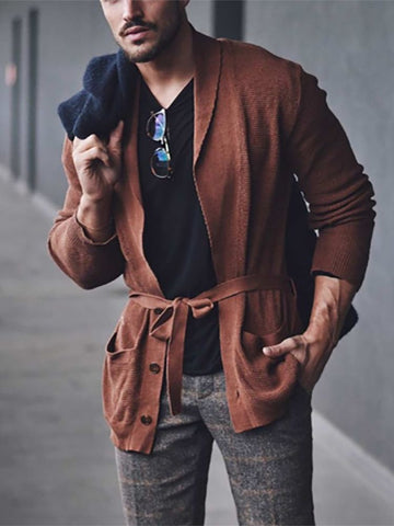 Men's Casual Solid Color Lace Knit Jacket