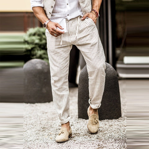 Casual men's casual striped lace-up pants
