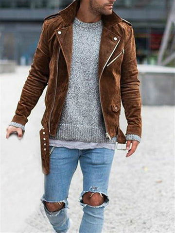 Mens Fashion Solid Color Zip Jacket