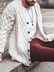 Mens Casual Solid Color Knit Cardigan