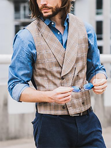 Mens Classic Plaid Vest