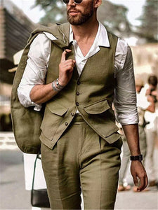 Mens Casual V-neck Solid Color Single Breasted Vest