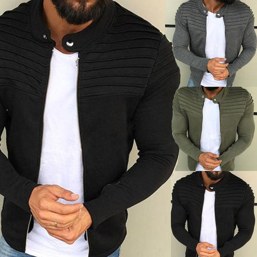 Men's Solid Color Slim Striped Pleated Paneled Zipper  Cardigan Sweater Jacket