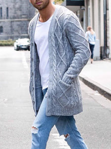 Mens Casual Solid Color Knit Jacket