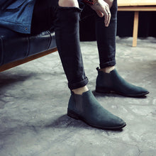 Load image into Gallery viewer, Men's High Leather Pure Color Chelsea Boots