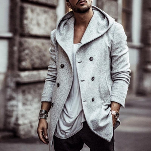 British Men's Hooded Pure color button lapel Loose Wool Overcoat