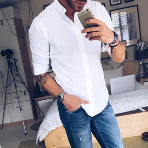 Solid color collar long sleeve shirt