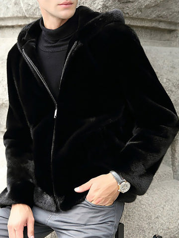 Mens Faux Fur Fur Hooded Jacket