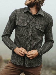Mens Classic Casual Solid Color Long Sleeve Shirt