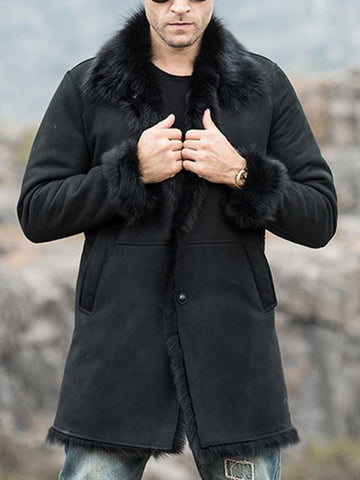 Mens Classic Warm Trench Black Long Fur Coat