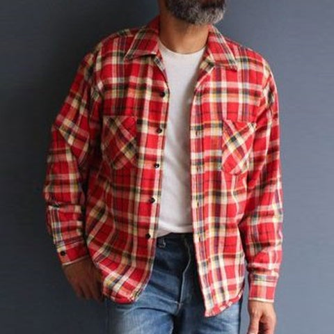 Mens Classic Casual Check Buttoned Shirt Jacket