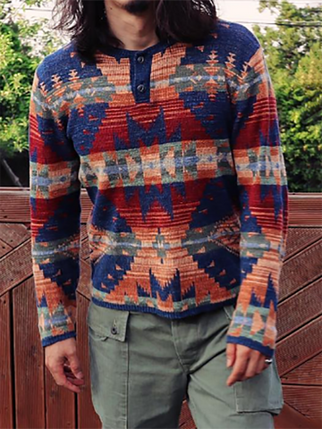 Casual Mens Casual Printed Round Neck Sweater