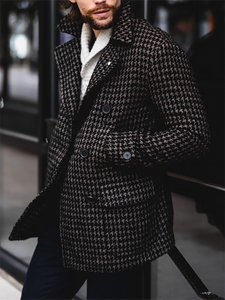 Men's Fashion Classic Check Single-breasted Long Sleeve Coat