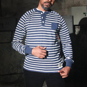 Mens Casual Striped Turtleneck T-Shirt