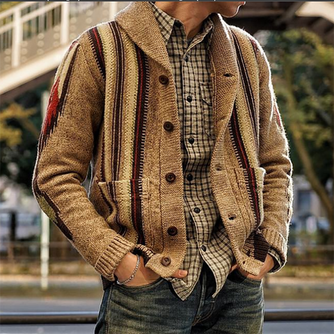 Mens Casual Printed Knit Jacket