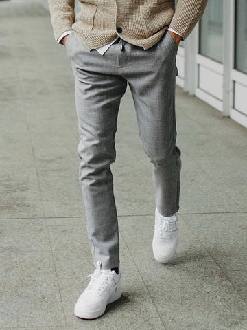 Mens Casual Solid Color Slim Trousers