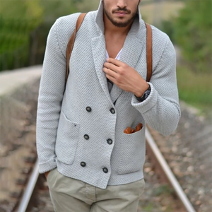 Mens Casual Lapel Double Breasted Sweater