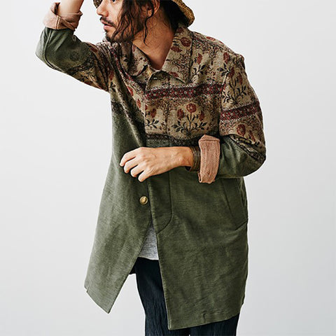 Mens Casual Patchwork Print Shirt