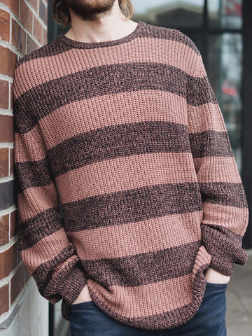 Mens Classic Casual Striped Sweater