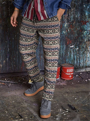 Mens Casual Printed Slim Trousers