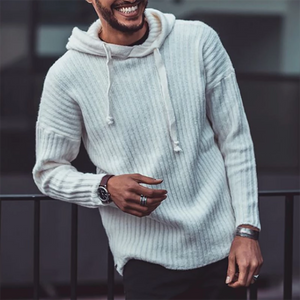 Mens Casual Solid Color Knit Hoodie