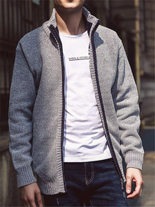 Mens Classic Casual Solid Color Knitted Jacket