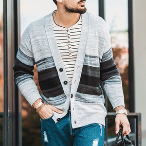 Mens Casual Striped Knit Cardigan