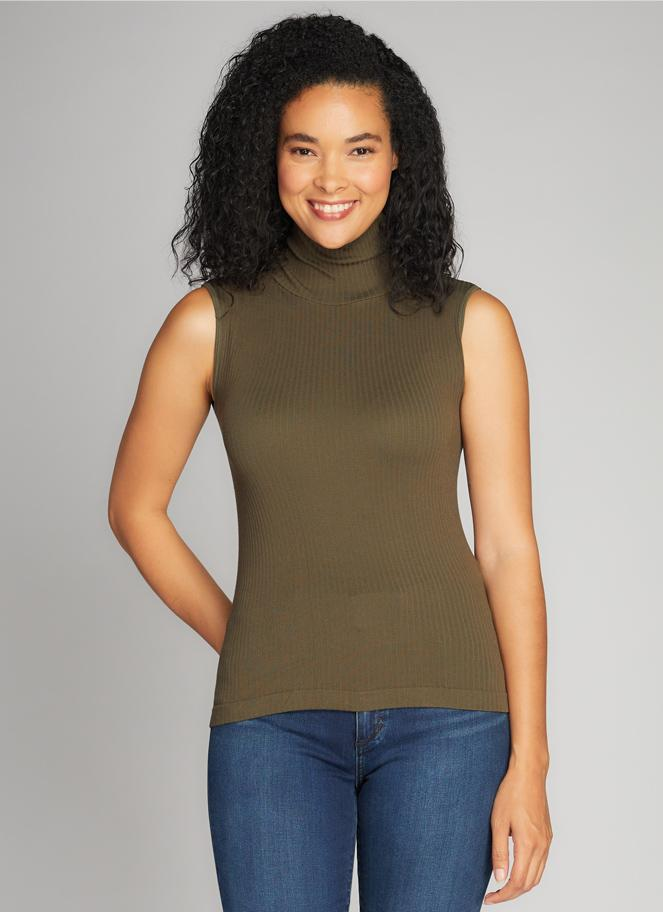 C'EST MOI Seamless Rib S/Less TN Top