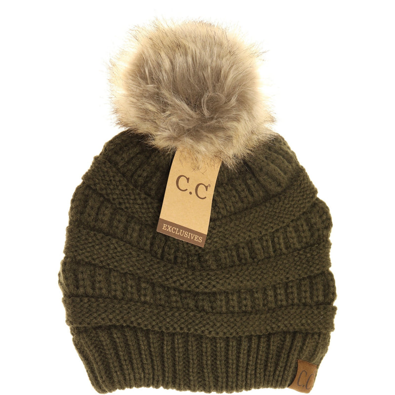 C.C Fur Pom Beanie in Green