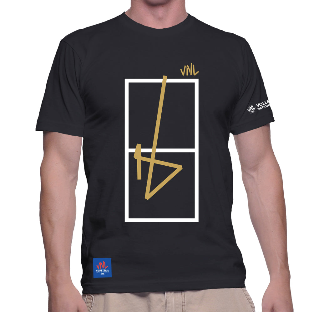 Mens Match Point Black & Gold Tee