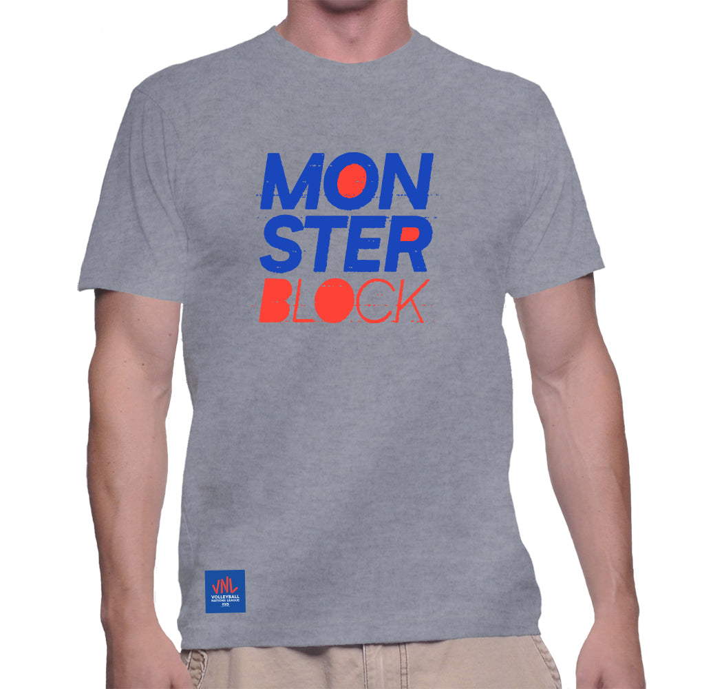 Mens Match Point Monster Block Tee Grey