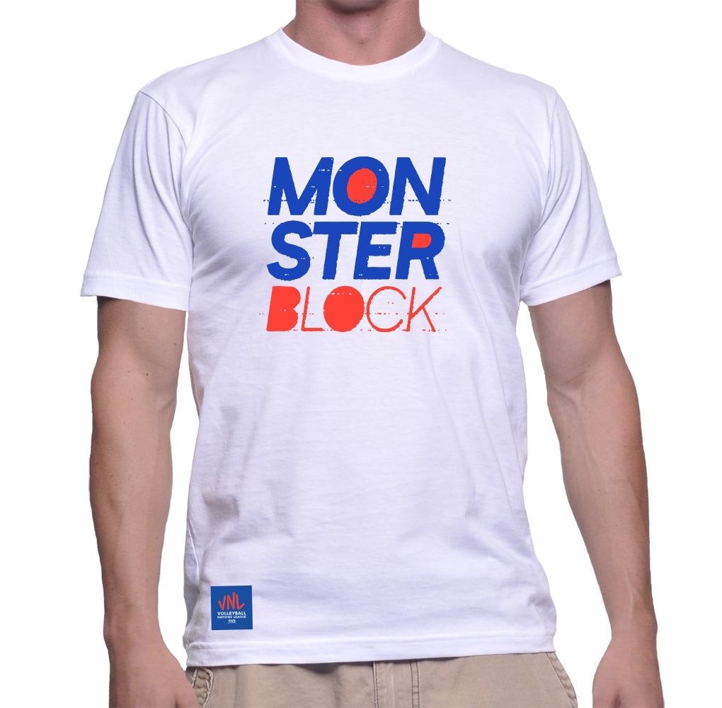 Mens Match Point Monster Block Tee White