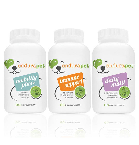 endurapet® Mobility Plus (1), Immune Support (1), and Multi-vitamin (1) pack for Cats and Dogs