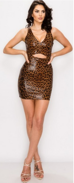 Liquid Luster Midriff Dress/Caramel