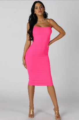 "Hot Pink ""Get me Bodied"" Ribbed Dress"