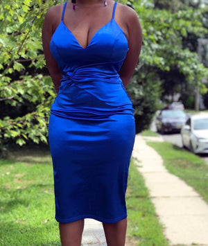 Forget Me Knot Satin Dress/Sapphire