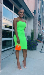 "Neon Green ""Get me Bodied"" Ribbed Dress"