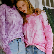 Primarie Tie Dye Long Sleeve T-Shirt in Pink and Purple
