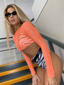 Orange Glimmer Crop top & Zebra Highrise