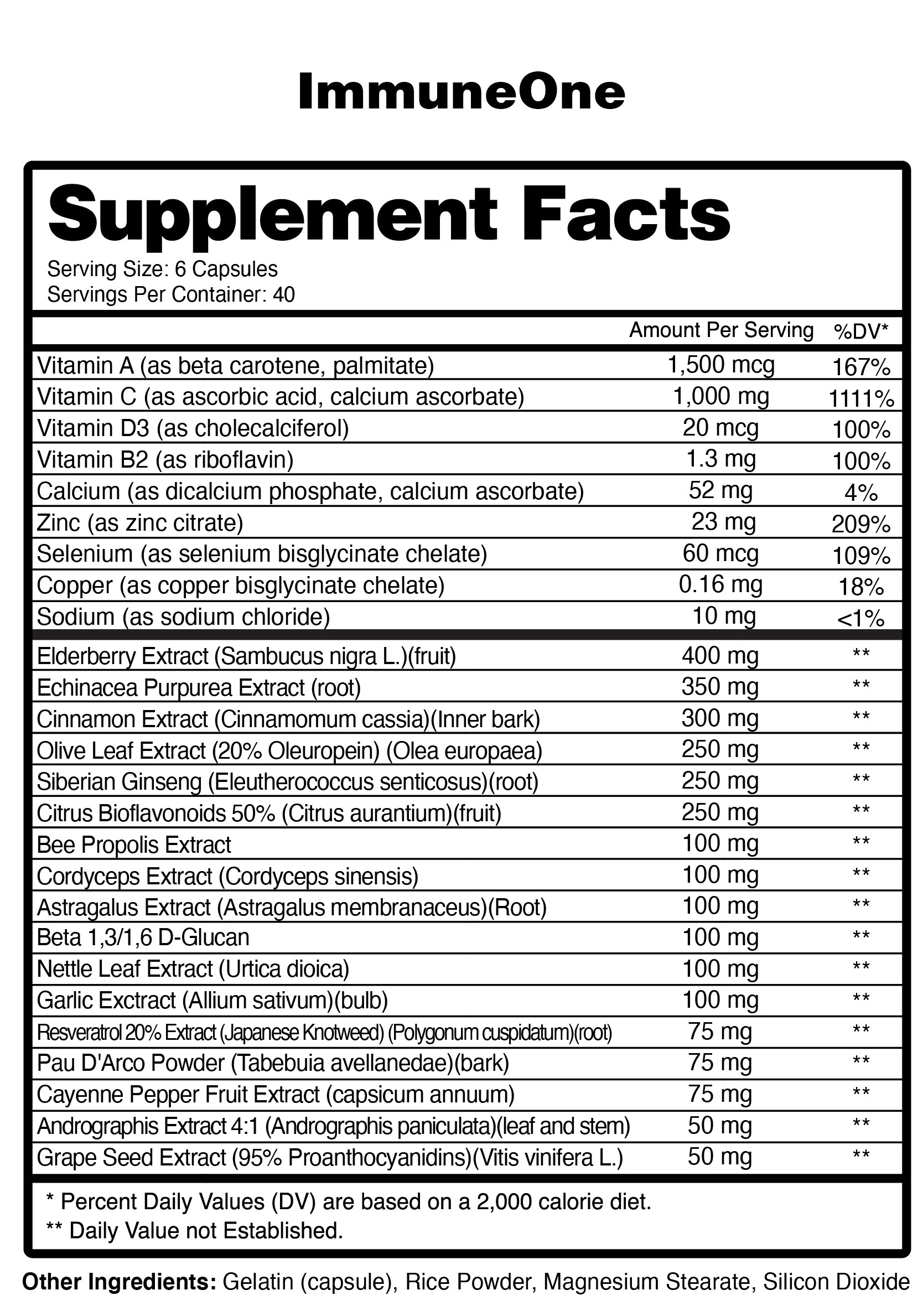 ImmnueOne Supplement Facts
