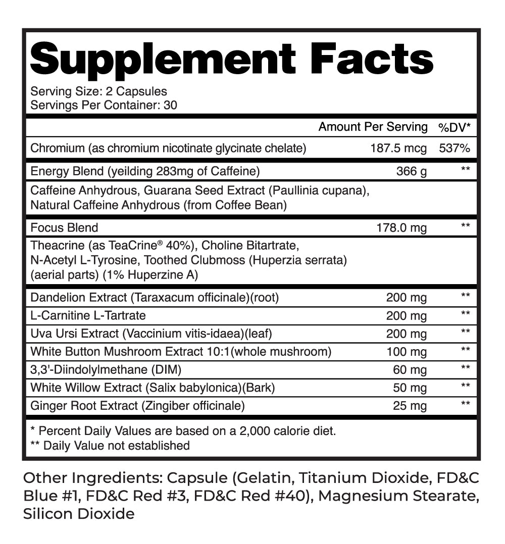 Supplement Facts Burn For Her
