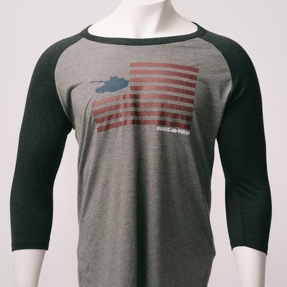 Anabolic Warfare Flag Tri-Blend 3/4 Sleeve Raglan (2183366213686)