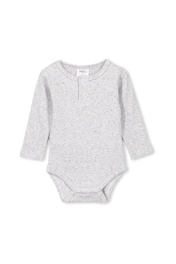 Milky Grey Rib Bubbysuit / Bodysuit