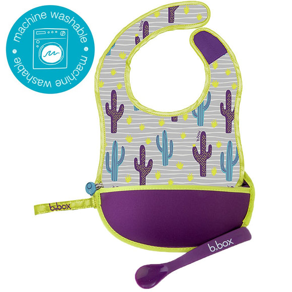 TRAVEL BIB + FLEXIBLE SPOON - CACTUS CAPERS
