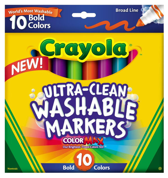 Crayola 10 Ultraclean Washable Broadline Markers