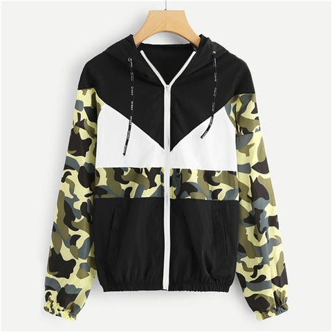 Camo Block Hooded Jacket