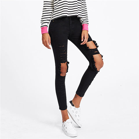 Distressing Ripped Skinny Jeans