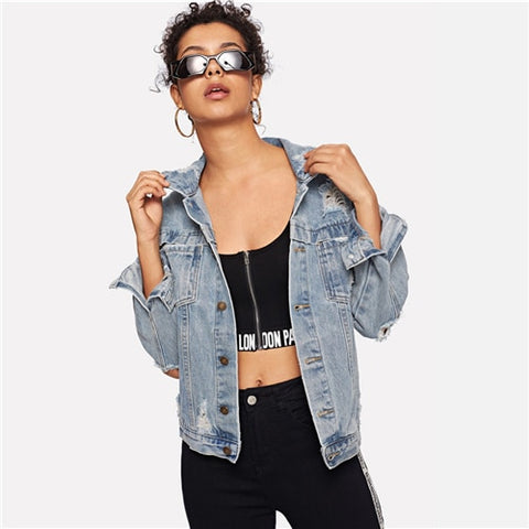 Ripped Bleach Denim Jacket
